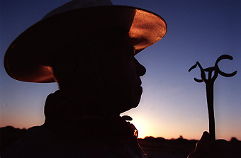 Silouette of a cowboy